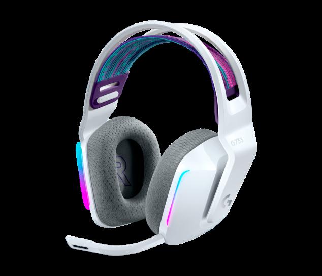 Headset Gamer Sem Fio Logitech G733 7.1 Dolby Surround com Tecnologia Blue VO!CE, RGB LIGHTSYNC, Drivers de Áudio Avançados - Branco