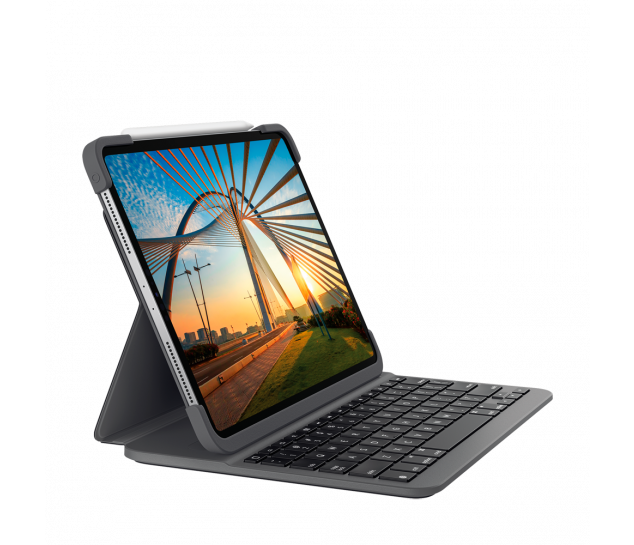Capa Com Teclado Logitech Slim Folio Pro Para Ipad Pro 11 1ª E 2ª Geração